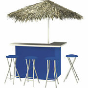 Solid Royal Blue Deluxe Portable Bar- Thatched Umbrella And 4 Stools
