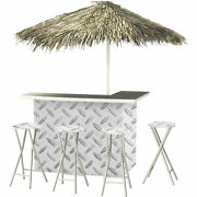 Urban Steel Deluxe Portable Bar- Thatched Umbrella And 4 Stools