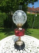 Antique Brass And Cranberry Glass Oil Lamp With Original Victorian Oil Lamp Shade