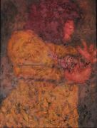 Original Oil Painting On Canvas- Signed, Framed Woman With Dove