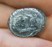 Ancient Coin Bull Lion Kingdom Of Lydia, Kroisos Sterling Silver Coin Authentic