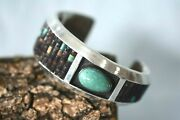 Vintage Signed Paul Arviso Turquoise Sterling Silver Cuff Navajo Bracelet Wow