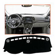 For Jeep Compass 17-21 Black Car Dash Board Mats Shading Protective Cover Pad