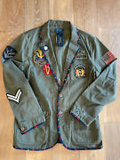 Polo High Neck Military Field Patch Jacket Mens M Rare Nwt 398