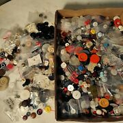 Huge Fun Lot Vtg Buttons Sewing Sew On Variety Old Button Craft Items 4lbs
