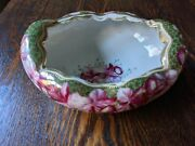 Stunning Vintage Nippon Hand Painted Oval Footed Bowl Scalloped Rim
