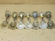14 Vintage Clear Glass Door Knobs And 7 Shafts
