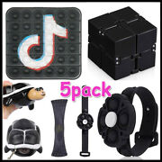 5pack Popit Fidget Toys Set Adhd Stress Relief Bracelet Gifts Infinity Cube Game