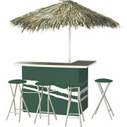 Classic Green Deluxe Portable Bar Set- Thatched Umbrella And 4 Stools