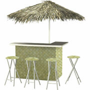 Thatch Green Deluxe Portable Bar- Thatched Umbrella And 4 Stools