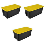 3 Pack Plastic Storage Containers Large 50 Gal Stacking Bin Box Tote Organizer
