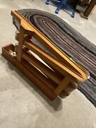 Antique Folk Art Toy Marble Run Wooden Game Tower With 12 Vintage Marbles