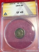 Anacs Ef45 Xf45 1830 P Liberty Seated Silver Capped Half Dime-agt556