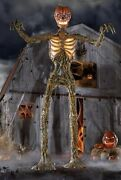 12-ft Inferno Pumpkin Skeleton With Animated Lcd Lifeeyes Halloween Prop