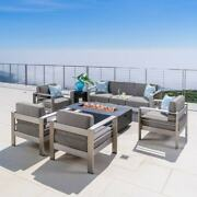 Cape Coral Outdoor Aluminum 7 Seater Chat Set With Fire Pit