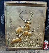 Antique Cast Iron Fireplace Cover Country Hunting Deer Bronze Panel Art Plaque