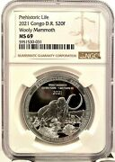 2021 Congo 20 Francs Wooly Mammoth 1 Oz 999 Silver Coin - Ngc Ms 69