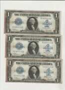 Lot Of 3-1923 Large 1 Silver Certificate- 3 Consecutive Serial Numbers