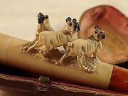 Vintage Cheroot Meerschaum Pipe 3 Pug Bull Dogs With Amber Stem And Case -4