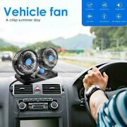 Dual Head Car Fan Portable Vehicle Truck 360° Rotatable Auto Cooling Cooler 12v