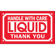 3 X 5 Handle With Care Liquid - Thank You Labels Red/white 5000 Rolls