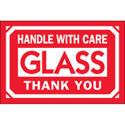 2 X 3 Glass - Handle With Care - Thank You Labels 5000 Pcs