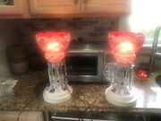 Antique Pair Of Mantle Luster Lamps Ruby Crystal Prisms Electric