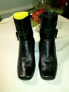 Clarks Women Black Leather 6 Buckle Strap Ankle Boot Wedge Heel Us 7.5m Mint
