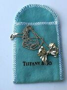 Vintage And Co. Sterling Silver Bow Necklace 18 Chain And Pouch