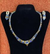 Vintage Mexico 950 Sterling Silver Hinged Link Multi-stone Necklace And Earrings