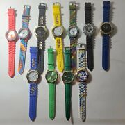 Lot Of 11 Assorted Geneva Silicone Pleather Band Watches Multicolored Fashion