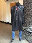 Menand039s Phat Farm Black Trench Coat Genuine Baby Lamb / Very Slightly Scratch