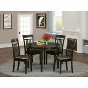 5-piece Dining Set Contains Small Round Kitchen Table And 4 Faux Leather Boca5-