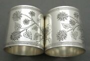 Two 2 American Coin Silver Napkin Ring With Brite Cut Flowers 1850-60