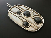 Vintage Modernist Sterling Silver And Labradorite Large 3andrdquo Abstract Pendant