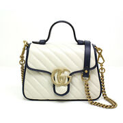 Gg Marmont Mini Top Handle Bag 583571 White Leather/dark Blue/gold