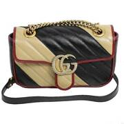 Gg Marmont Quilting Small Shoulder Bag 446744 Beige Black Women And039s