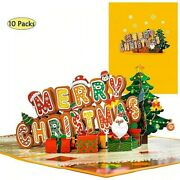 10 Pack 3d Pop Up Merry Christmas Cards Xmas Greeting Gift Holiday New Year