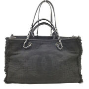 2way Handbags A57180 Cotton/leather Black Silver Fittings