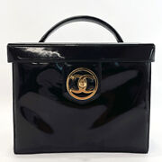 Handbag Vanity Bag Patent Leather Coco Mark Black Gold Fittings Made In