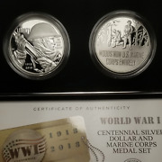 2018 Wwi Centennial Silver Dollar And Marine Corps Medal Set W/ogp And Coa