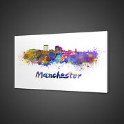 Manchester New Hampshire Watercolour Paint Style Canvas Print Wall Art Picture