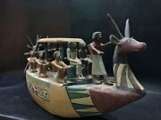 One Of A Kind Antique King Tutankhamun Boat Used In Funerals-hand Carved