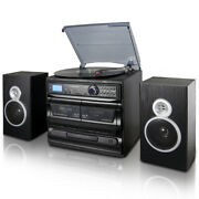 Trexonic 3-speed Vinyl Turntable Home Stereo System With Cd Player, Dual Cass...