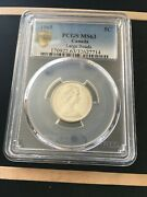 1965 Large Bead Djpcgs Graded Canadian Nickel 5 Cent Ms-63 7714