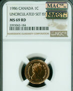 1986 Canada Cent Ngc Ms69 Rd Pq Mac Finest Graded Spotless