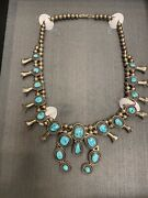 Vintage Sterling Green Turquoise Navajo Squash Blossom Necklace