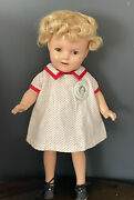 """Antique Shirley Temple Composition Doll, 13"""" Clothes/hair, Pin/button 1930's"""