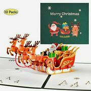 10 Pack 3d Pop Up Merry Christmas Cards Xmas Greeting New Year Reindeer Post