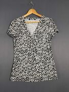Bm Collection Printed White And Black Blouse Size 14